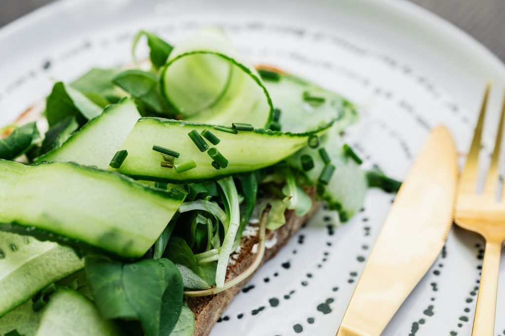 Vegan delicious tasted carpaccio from zucchini